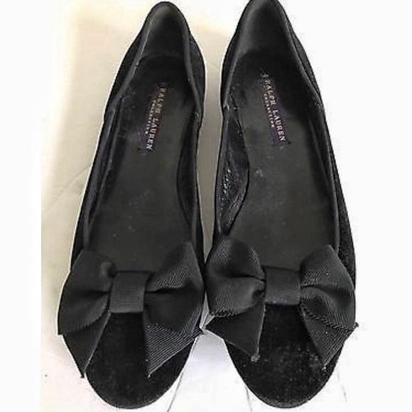 Ralph Lauren Collection Velvet Bow Flats